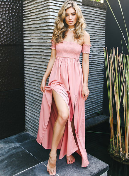 Elastic Strapless Short Sleeve High Slit Maxi Prom Dress - girlyrose.com