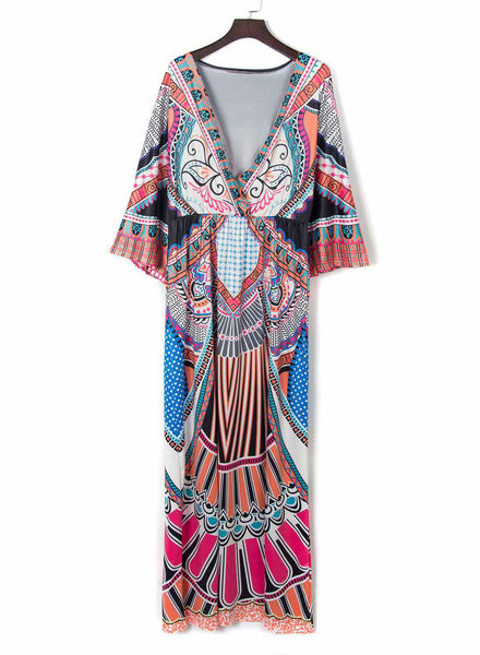 Elastic V Neck Tribal Print Maxi Dress