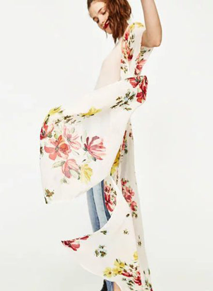 Elegant Flower Printing V Neck Dress - girlyrose.com