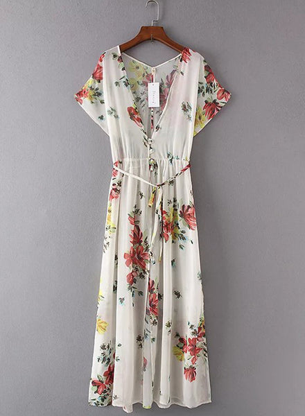 Elegant Flower Printing V Neck Dress