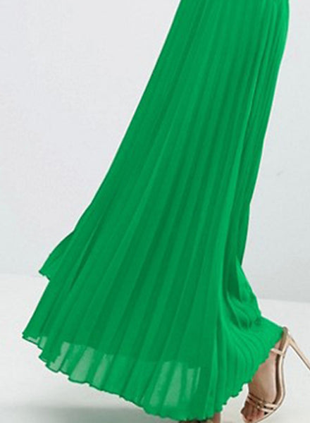 Elegant Green Off Shoulder Dress