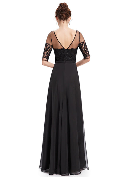 Elegant Lace Half Sleeve Backless Evening Dress - girlyrose.com