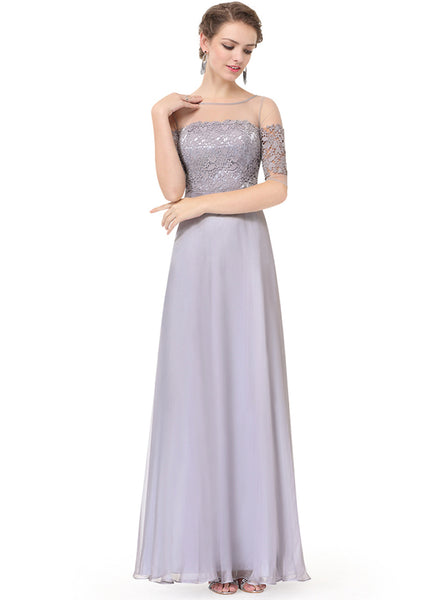 Elegant Lace Half Sleeve Backless Evening Dress