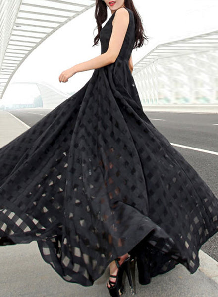 Elegant Plaid Organza Slim Fit Prom Dress