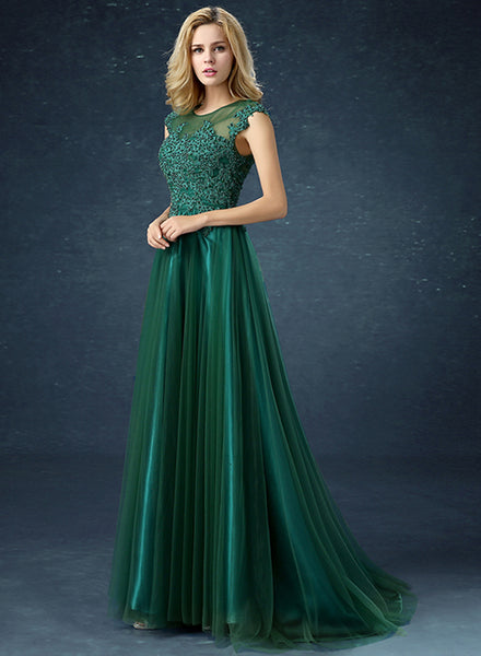Elegant Sleeveless Evening Bridesmaid Prom Mesh Dress - girlyrose.com