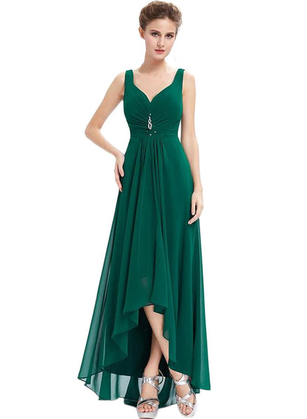 Elegant Sleeveless High Low Evening Prom Dress - girlyrose.com