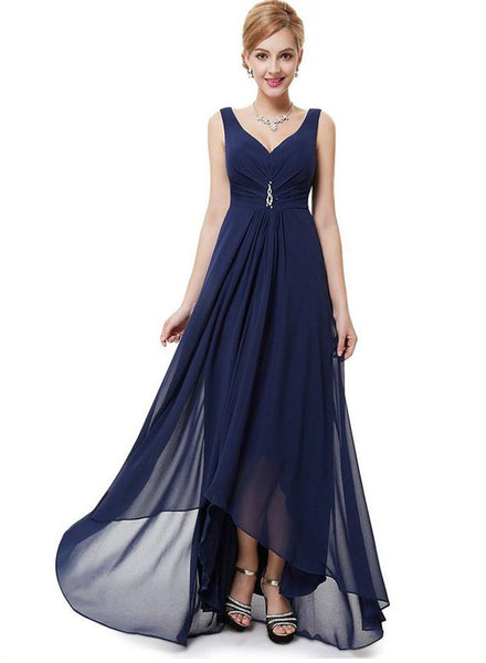 Elegant Sleeveless High Low Evening Prom Dress