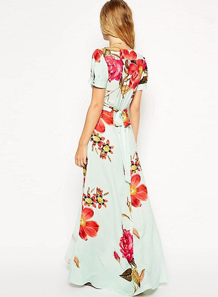 Elegant V Neck Floral Printing Maxi Dress
