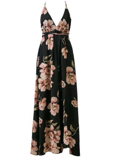 Elegant V Neck Sleeveless Backless Split Floral Printed Maxi Dress - girlyrose.com