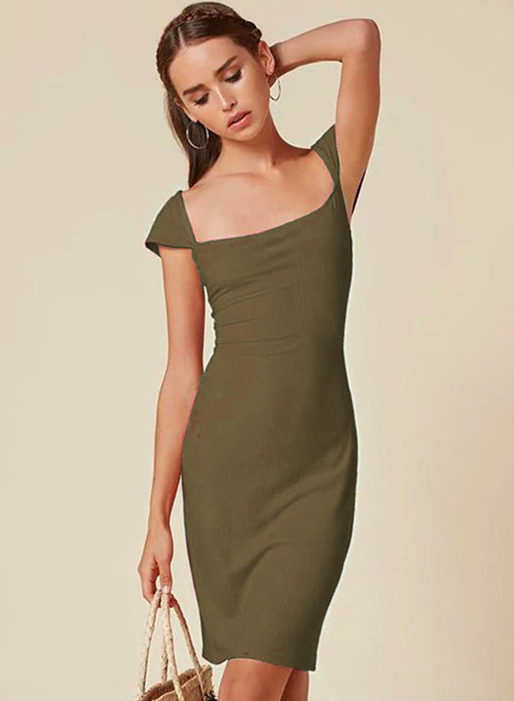 Army green Fashion Cap Sleeve Back Slit Bodycon Dress