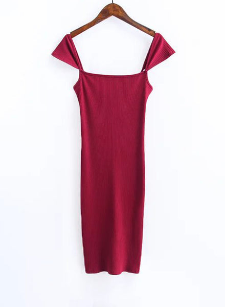 Burgundy Fashion Cap Sleeve Back Slit Bodycon Dress