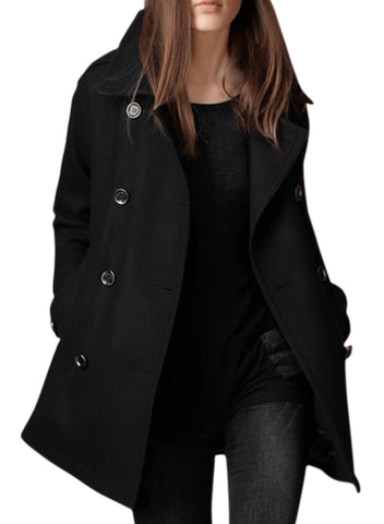 Women's Double Breasted Winter Pea Coat with Pockets - girlyrose.com
