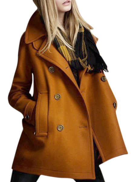 Women's Double Breasted Winter Pea Coat with Pockets