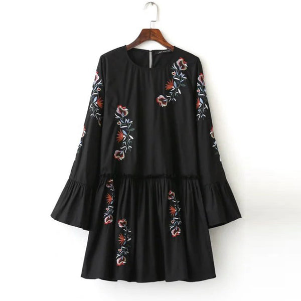 Fashion Floral Print Embroidered Pleated Flare Sleeve Dress