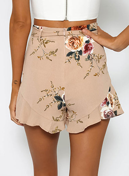 Fashion Floral Printed Ruffle Loose Shorts with Belt