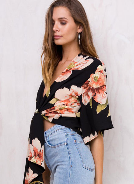 Fashion Floral V Neck Short Sleeve Two-Way Blouse