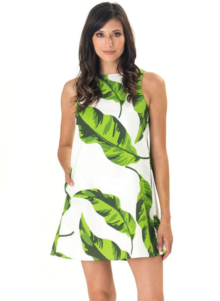 Fashion Green Leaf Printing Dress