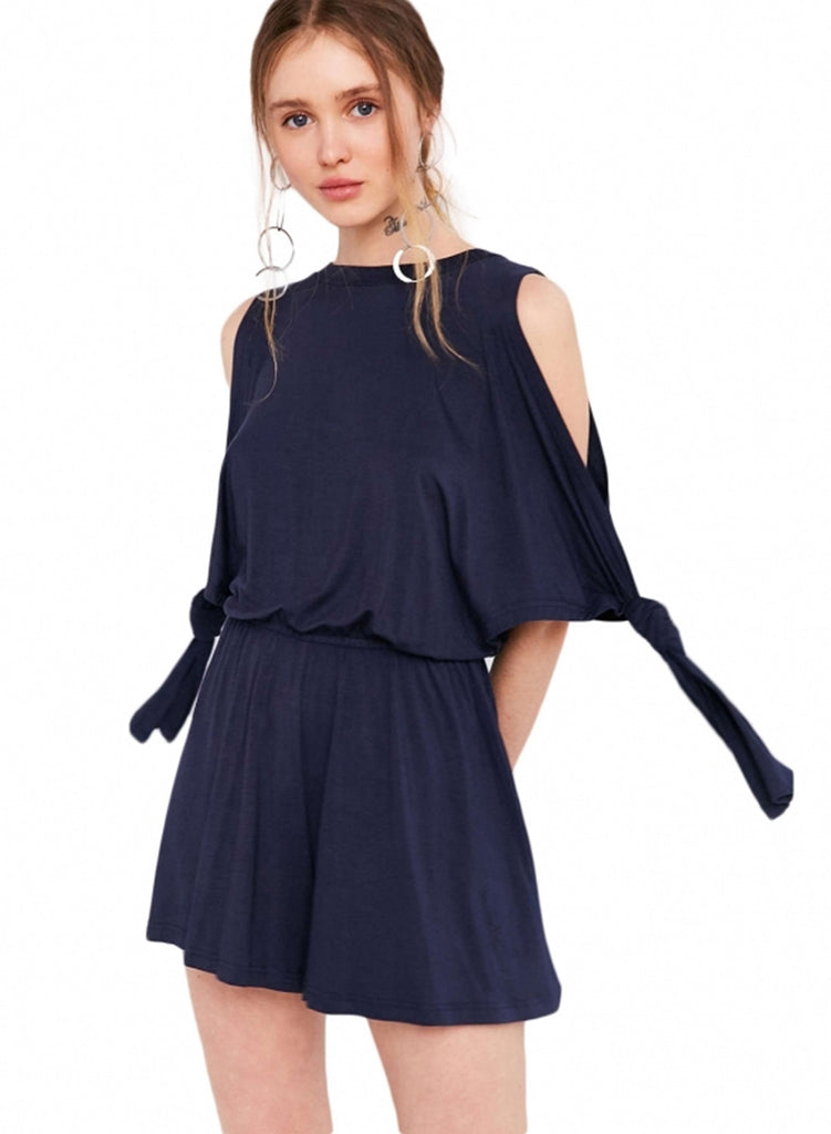 Navy Fashion off Shoulder Elastic Waist Solid Dress