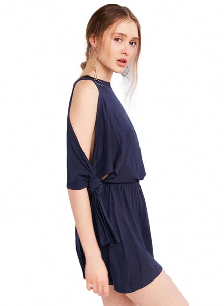 Navy Fashion off Shoulder Elastic Waist Solid Dress - girlyrose.com