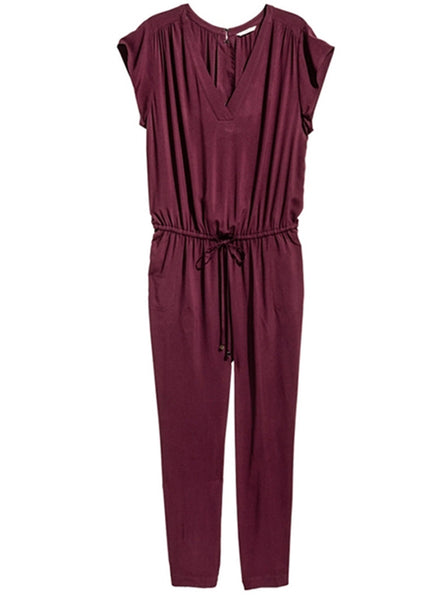 Fashion Plus Size V Neck Jumpsuit - girlyrose.com