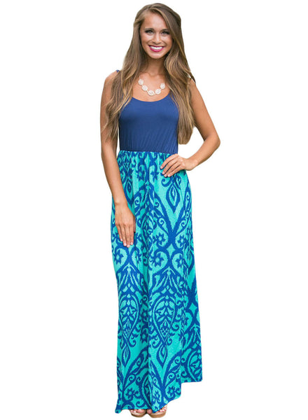 Fashion Print Sleeveless Long Boho Dress - girlyrose.com