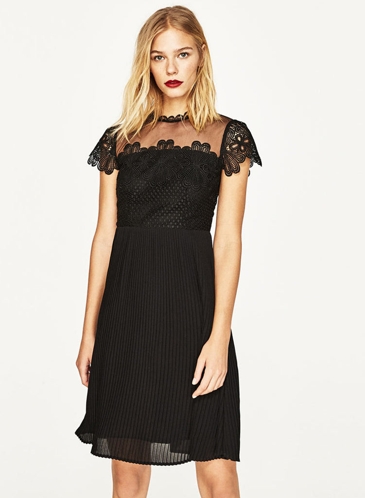 Fashion Sheer Lace Party Pleated Dress - girlyrose.com