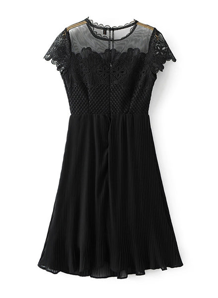 Fashion Sheer Lace Party Pleated Dress