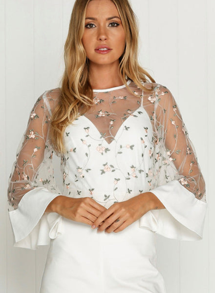 Fashion Sheer Mesh Floral Blouse - girlyrose.com