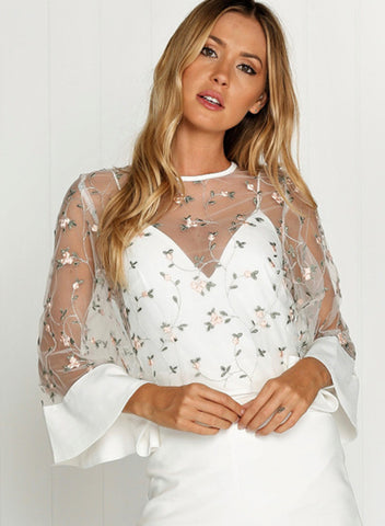 Fashion Sheer Mesh Floral Blouse