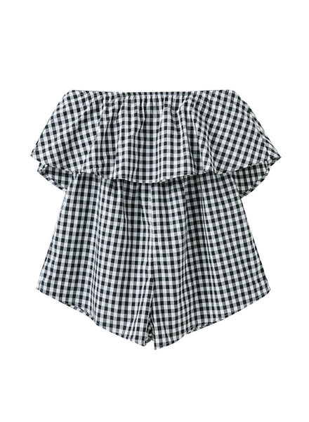 Fashion Strapless Ruffle Plaid Romper - girlyrose.com