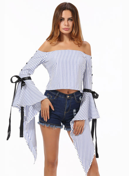 Fashion Striped Flare Sleeve off Shoulder Blouse