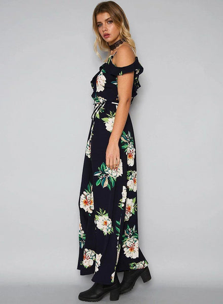 Fashion V Neck Floral Print Maxi Dress - girlyrose.com