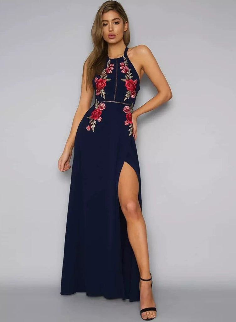 Navy Fashionable Halter Neck Floral Embroidery Maxi Dress