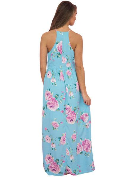 Blue Floral Bohemian Holiday Maxi Dress