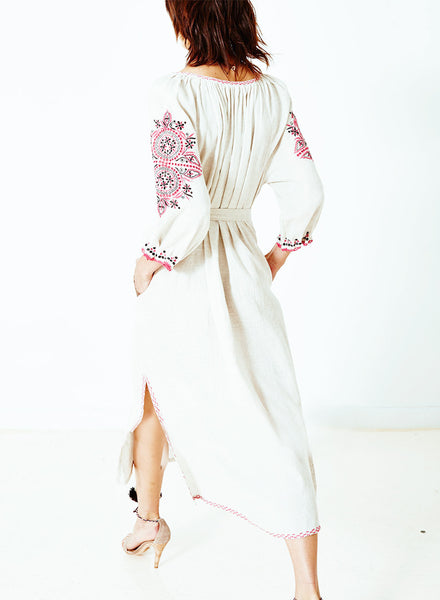 Floral Embroidery Graphic Slit Belted Maxi Dress