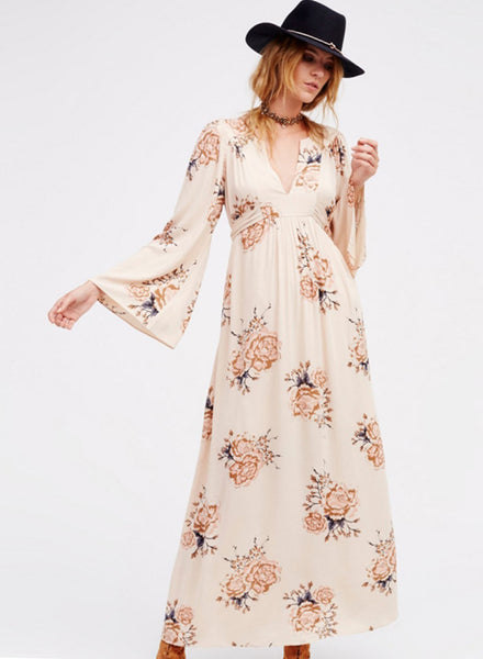 Floral Graphic Flare Sleeve Maxi Dress - girlyrose.com