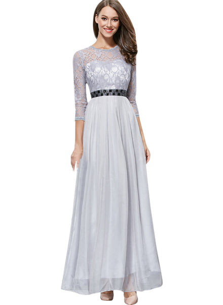 Floral Lace Paneled Round Neck 3/4 Sleeve Prom Dress
