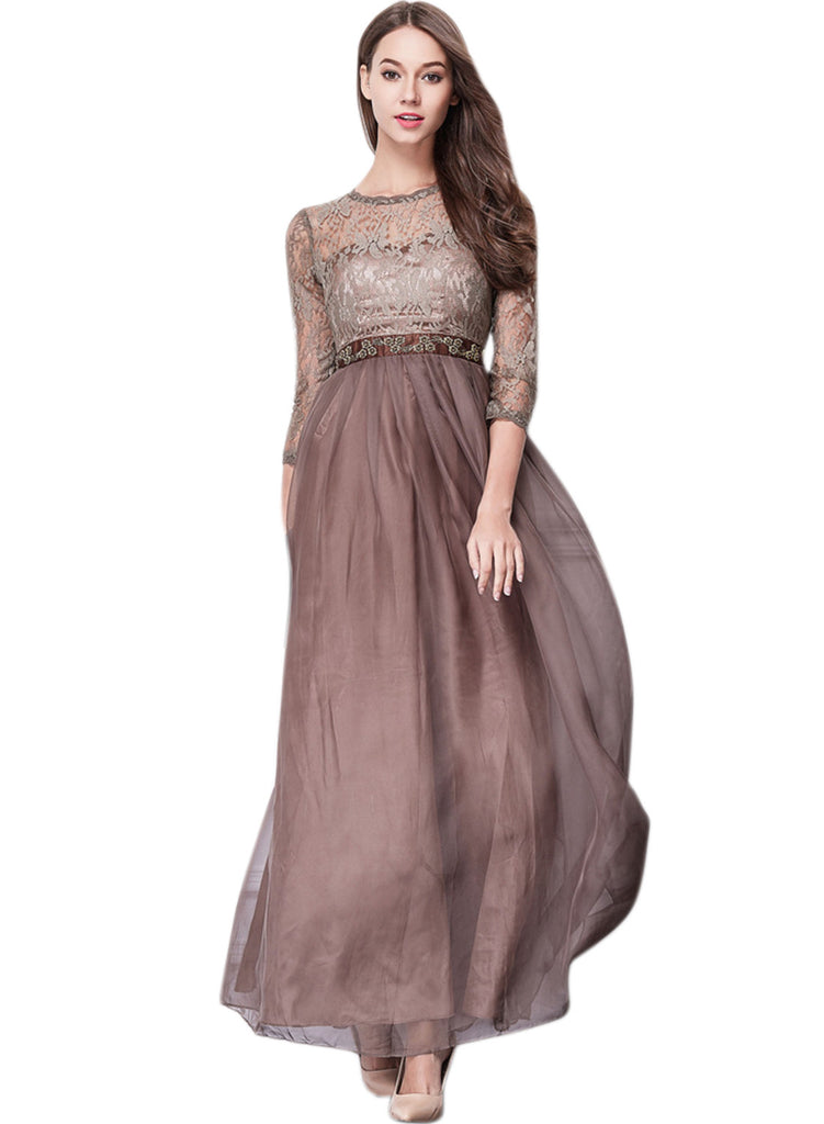 Floral Lace Paneled Round Neck 3/4 Sleeve Prom Dress - girlyrose.com