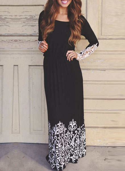 Floral Lace Paneled Round Neck Maxi Dress