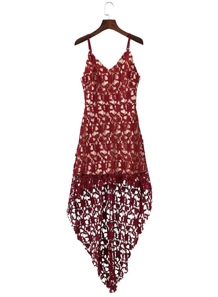 Floral Lace Trim Asymmetric Spaghetti Strap Dress - girlyrose.com