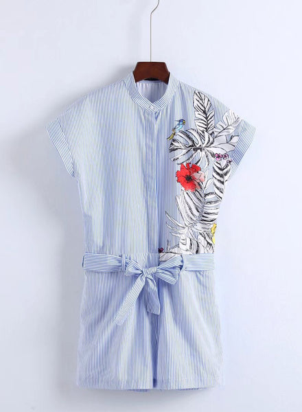 Floral Print Lace-up Stripped Jumpsuit - girlyrose.com