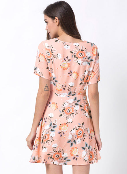 Floral Print Short Sleeve Mini Chiffon Dress