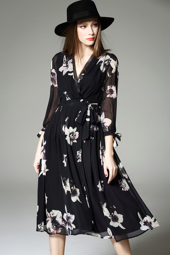 Floral Print Three Quarter Sleeve Wrap Dress - girlyrose.com