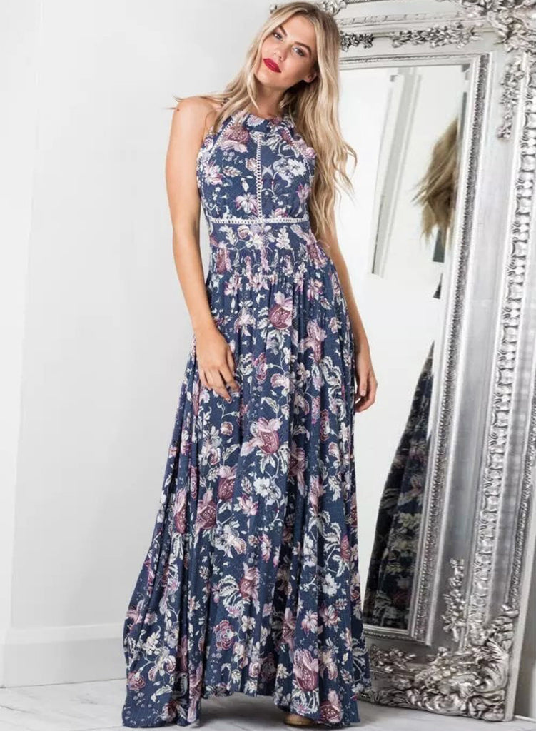 Floral Printed Halter Neck Sleeveless Maxi Dress - girlyrose.com