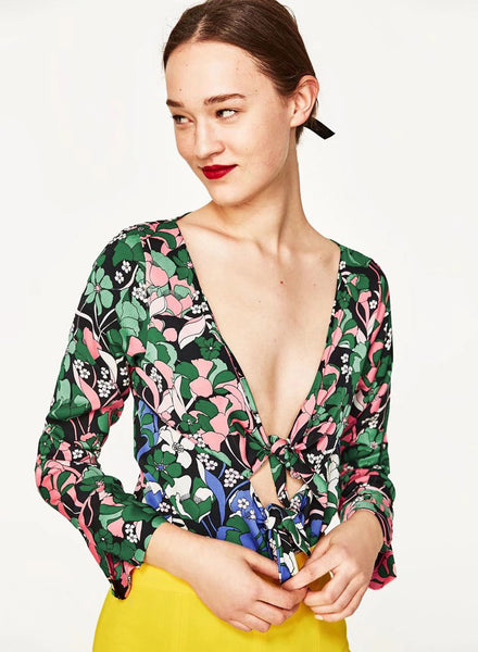 Floral Printed Long Sleeve Deep V Neck Bodysuit - girlyrose.com