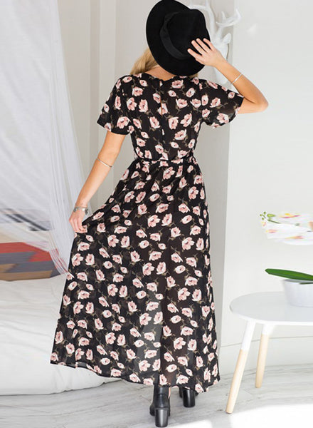 Floral Printed V Neck Short Sleeve High Split Maxi Dress