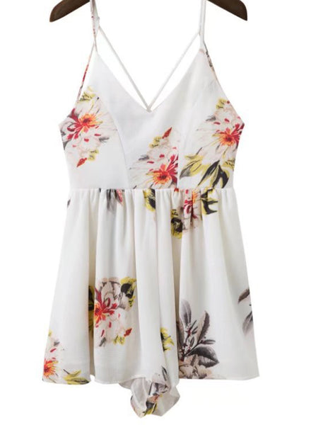 Floral Printed V Neck Sleeveless Backless Romper