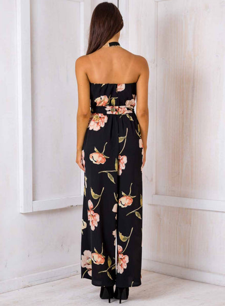 Floral Printed Wide Leg Tube Jumpsuit