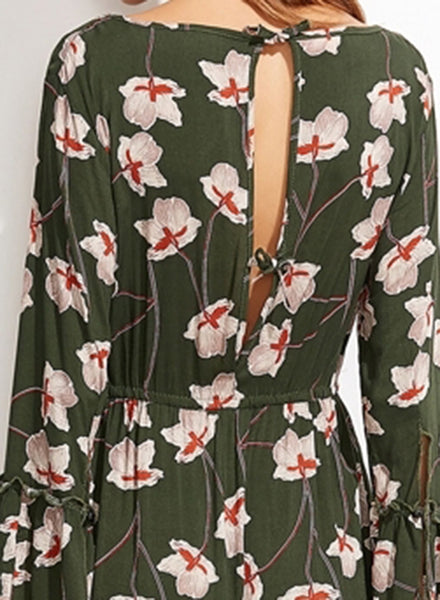 Floral Printing V Neck Dress - girlyrose.com