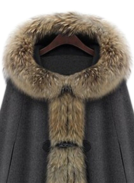Fuax Fur Hooded Cape Style Coat